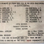 WW2 memorial - Hindle House - plaque's second appearance